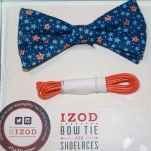 IZOD Bow Tie & Shoelace Set Blue & Orange
